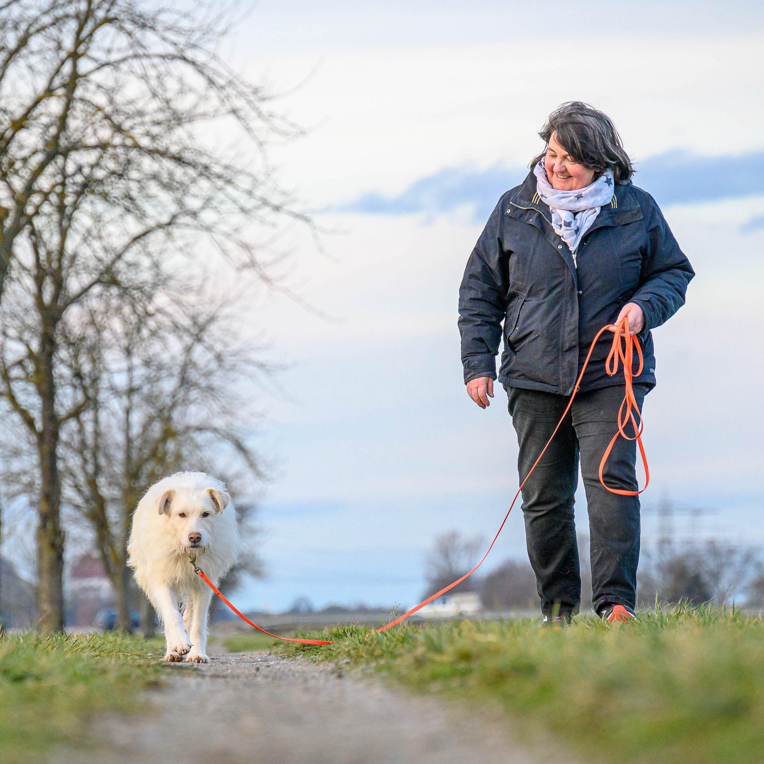 Mensch mit Hund an der Schleppleine