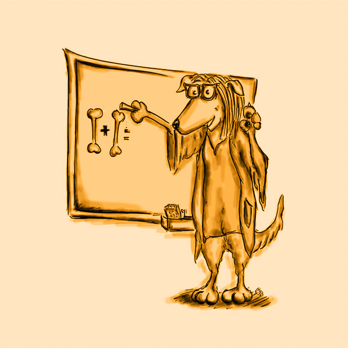 Ein Hund steht vor einer Tafel und schreibt eine Rechenaufgabe - Zeichnung