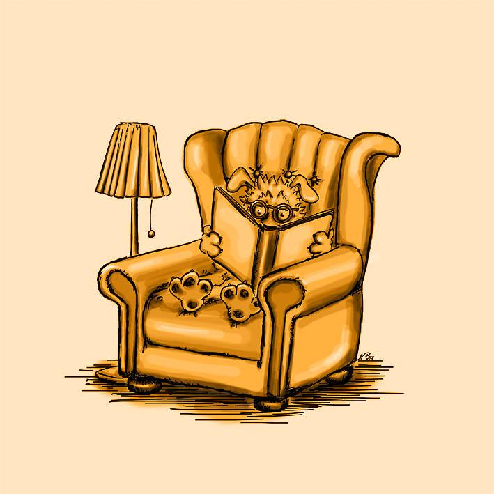 Hund sitzt im Sessel und liest ein Buch zum Thema Hunde verstehen lernen - Zeichnung