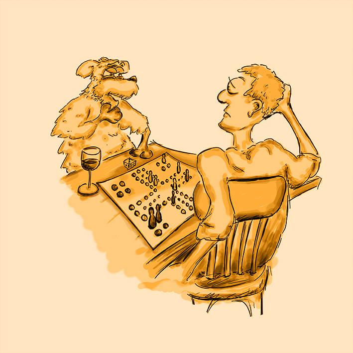 Hund sitzt mit Mensch am Tisch und spielt Mensch ärgere Dich nicht - Zeichnung