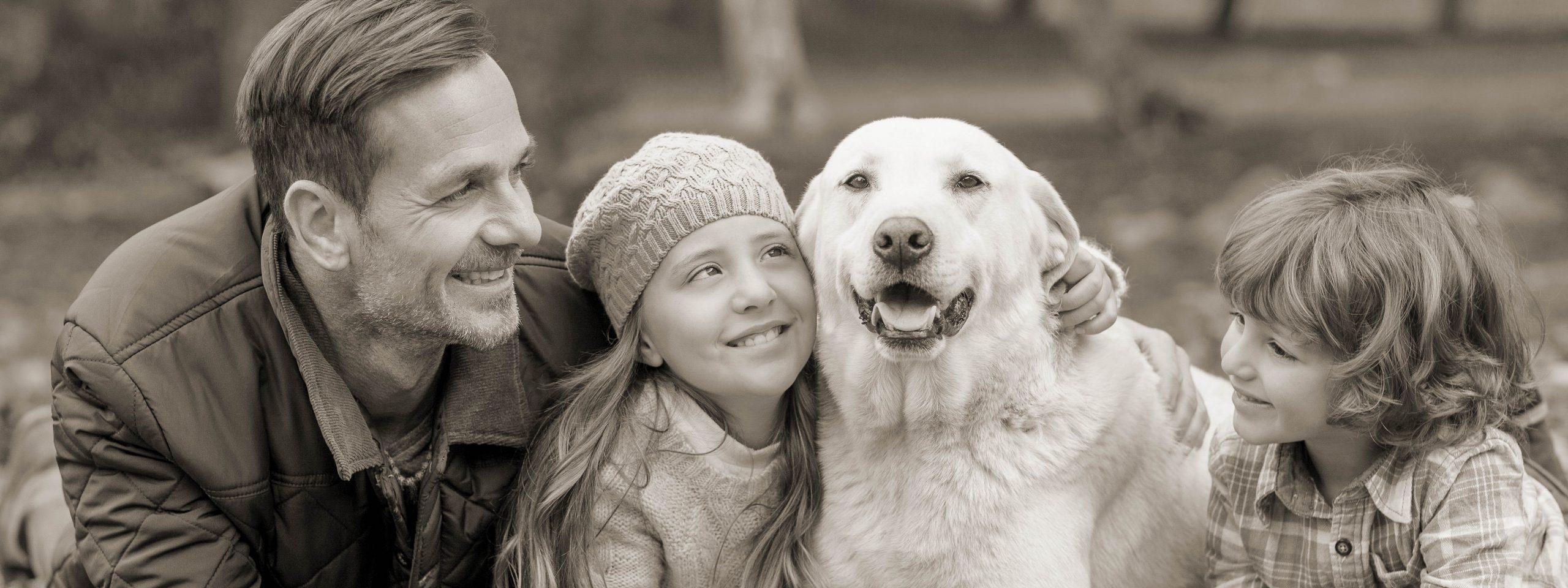 Vater, Tochter, Sohn liegen mit Hund gemeinsam auf einer Wiese