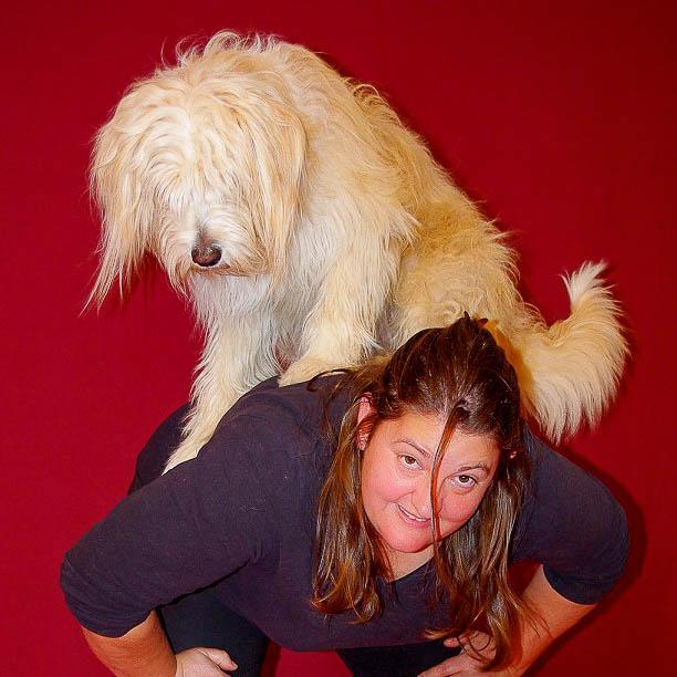 Ein Hund sitzt auf dem Rücken einer Frau - sie machen Tricks