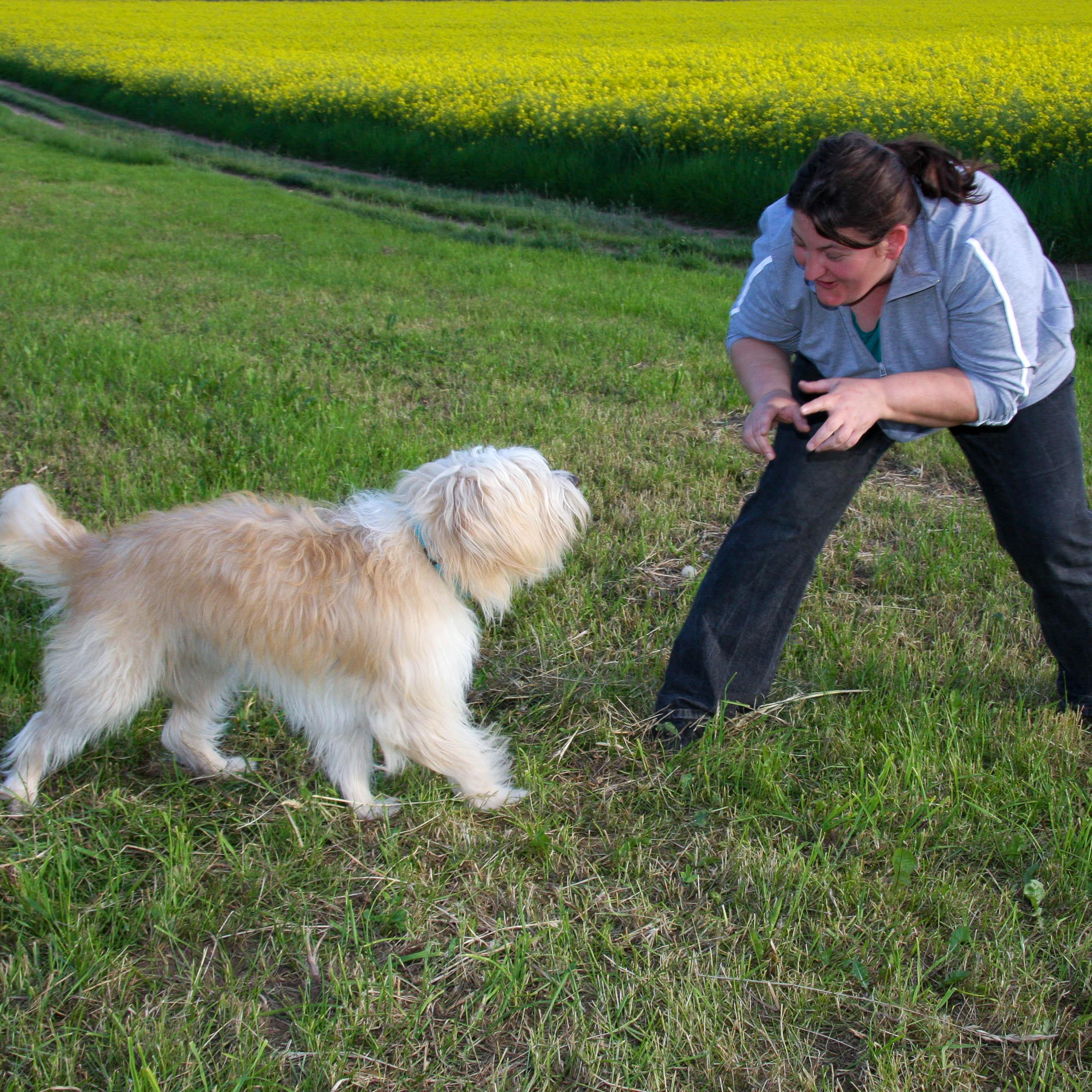 Eine Frau fordert ihren Hund zum Spiel auf, der rennt auf sie zu