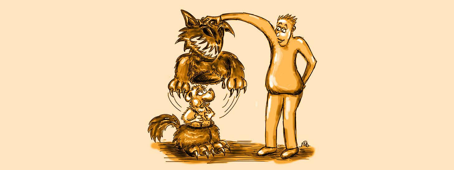 Zeichnung Mann nimmt dem süßen Hund die Maske ab